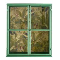 Regal aus grünem Metall mit Pflanzendruck auf Rückwand Camila