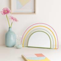 Regenboogvormige spiegel van gekleurd draadmetaal 34x22