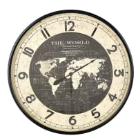 Reloj con mapamundi de metal negro D.96 Atlas