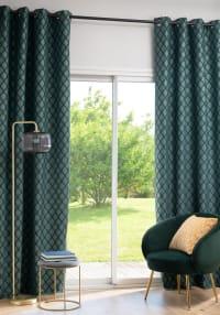 NORBURY - Rideau à œillets tissé jacquard motifs graphiques vert, noir et doré à l'unité 135x270