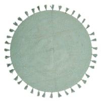 Rond tapijt met kwastjes van groen katoen D100 Nina