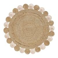 SUZON - Rond tapijt van jute en beige en roze katoen D100