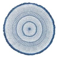 Ronde muurdecoratie van blauw geweven katoen D90 Cobalt