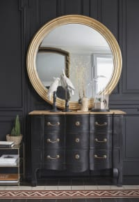 GABIN - Ronde spiegel met goudkleurige sierlijst D120