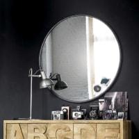 Ronde spiegel van getint glas en zwart metaal D90 Urban