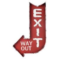 Rood metalen wandbord 49x81 Exit