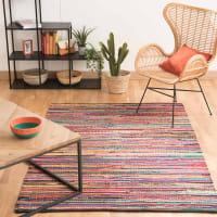 cotton woven rug, multicoloured 140 x 200cm Roulotte
