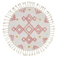 BERLIN - Round Berber rug in ecru, pink and mustard yellow cotton print D120cm