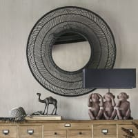 Round Black Woven Rattan Mirror D102 Palmista