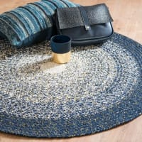 Round Blue, White and Grey Cotton Rug D90