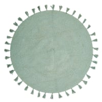 Round Green Cotton Rug with Pom Poms D100 Nina