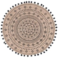 Round Jute Placemat with Mandala Print Solvenna