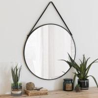 Round Metal Mirror in Black D 55 Cody
