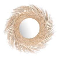 CEBU - Round White Coconut Fibre Mirror D110