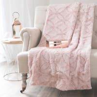 Roze kleurig imitatiebont plaid 130x170 Allyson