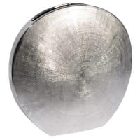 Runde, flache Vase  aus Dolomit, H 30cm Silver