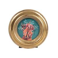 CAMILIA - Set aus 2 - Runder Fotorahmen mit Leisten aus goldfarbenem Polyresin, D7cm