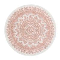 Runder Jute-/Baumwollteppich, rosa mit Druckmuster D100 Mandalo