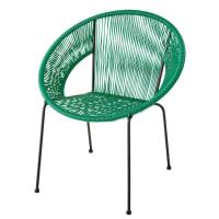 Runder Sessel aus Kunstharz-Geflecht, grün Ko Samui