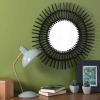 Runder Spiegel aus Rattan, schwarz, D 50 cm, Kumpa
