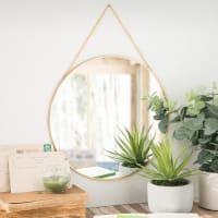 Runder Spiegel aus vergoldetem Metall, D30 Elysia