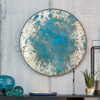 Runder Spiegel, blaue Farboptik, schwarzer Metallrahmen Ava