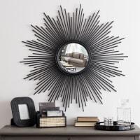 Runder Spiegel, konvex mit Rahmen aus schwarzem Metalldraht D.99 Magellan