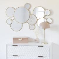Runder Spiegel mit goldfarbenem Metallrahmen 106x63 Beverly