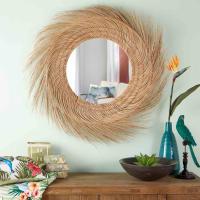 Runder Spiegel mit Rahmen aus Kokosnussfasern D.110 Cebu