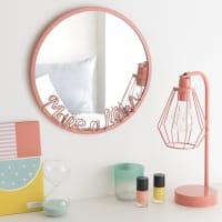 Runder Spiegel mit rosafarbenem Metallrahmen D.30 Make A Wish