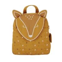 MIMIZAN - Sac à dos biche en coton caramel, beige, doré et gris