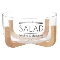 Salatschüssel aus Glas mit schwarzen Schriftzügen und Halterung