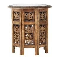 carved wood side table W 46cm Saranya