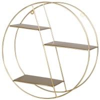 LINDSEY - Scaffale rotondo in metallo dorato opaco