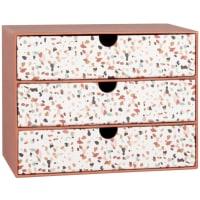 Scatola con 3 cassetti color terracotta e bianca con motivi