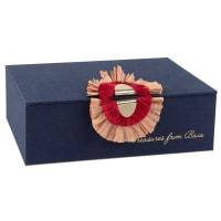 Schmuckschatulle, marineblau mit Accessoire in Rot und Rosa