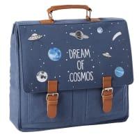 Schultasche aus Baumwolle, marineblau mit Druckmuster Galaxy