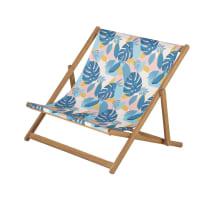 IONNA - Sdraio mini doppia acacia massiccia tela stampa tropici rosa/blu/verde