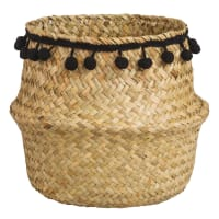 Seagrass Basket with Black Pom Poms