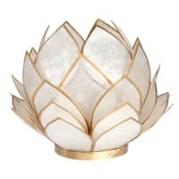 NYMPHEA - Seerosen-Lämpchen aus weißem Perlmutt und goldenem Metall