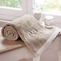 Serviette de toilette en coton beige 30 x 50 cm Camille