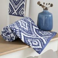 Serviette en coton bleu motifs graphiques 50x100 Indigo