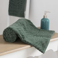 Serviette en coton vert motifs feuilles 70x140 Harmonia