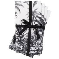 PARADISE - Serviettes en coton bio imprimé tropical blanc et noir (x4)