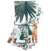 LEATHERHEAD - Serviettes en coton bio imprimé tropical multicolore (x4)