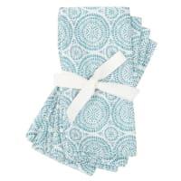 MEGARA - Serviettes en coton et lin imprimé graphique bleu et écru (x4)