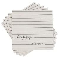 NOVELLA - Lot de 2 - Serviettes en papier beige et noir motifs à rayures (x20)