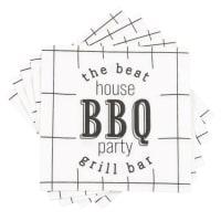 BBQ PARTY - Lot de 2 - Serviettes en papier noir et blanc imprimé (x20)