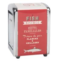 Servilletero metálico rojo con estampado Fish Bistrot