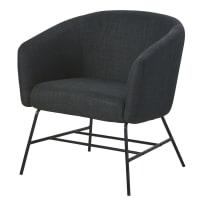 Sessel anthrazitgrau aus schwarzem Metall Paula